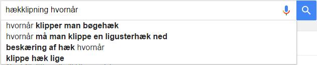 Hækklipning Google søgeresultat